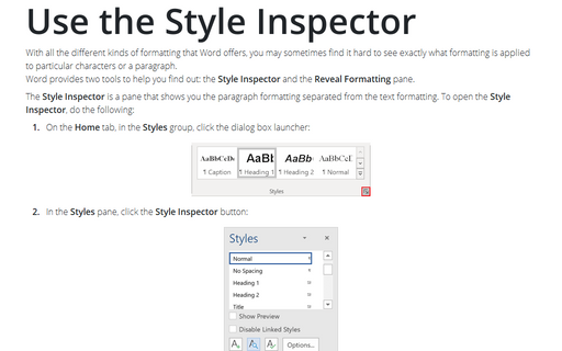 Use the Style Inspector