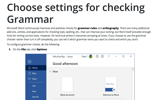 Choose settings for checking Grammar