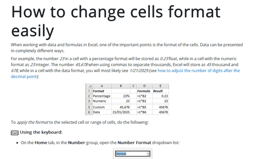 How to change number format easily