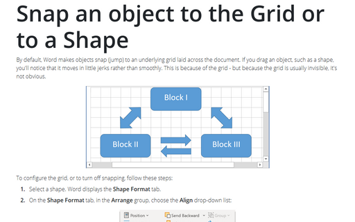 Snap an object to the Grid or to a Shape
