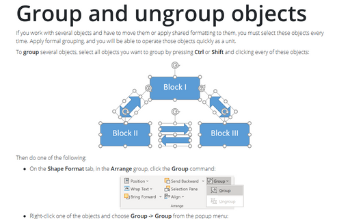 Group and ungroup objects