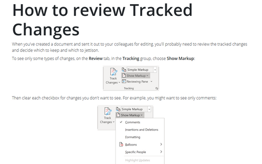 Review Tracked Changes in a document