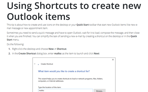 Using Shortcuts to create new Outlook items
