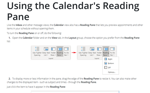 Using the Calendar's Reading Pane