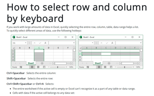 Row and column selection with the keyboard