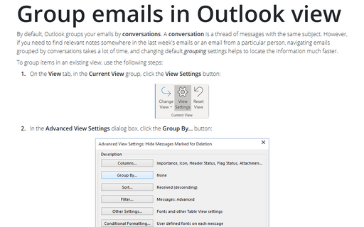 Group emails in Outlook view