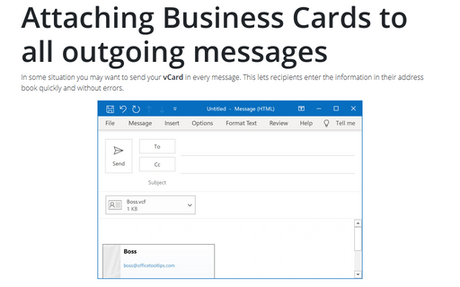 Attaching Business Cards to All Outgoing Messages
