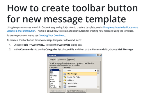 How to create toolbar button for new message template