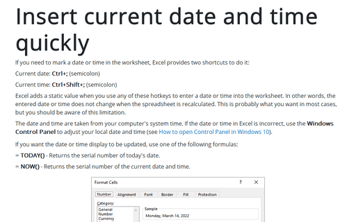 Insert current date and time quickly
