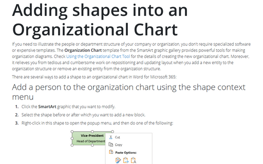 Adding shapes into an Organizational Chart