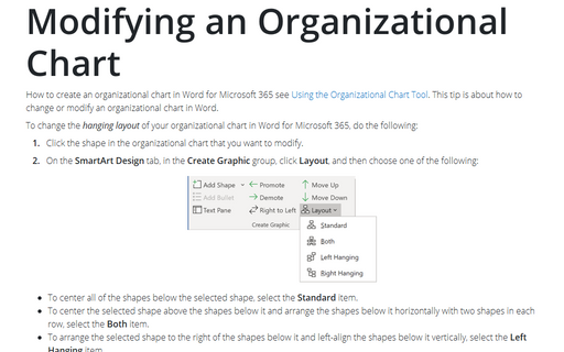 Modifying an Organizational Chart