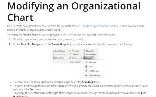 Modifying An Organizational Chart