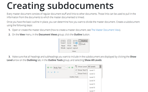 Creating subdocuments