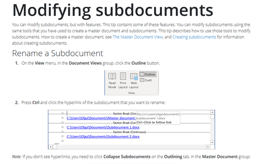 Modifying subdocuments