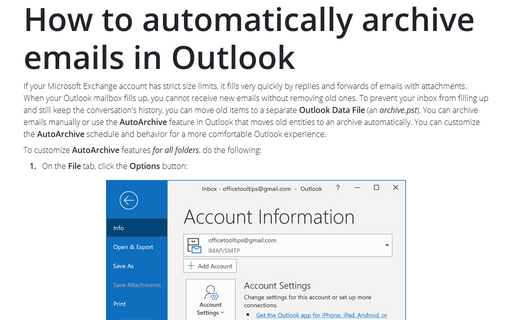 Outlook AutoArchive features