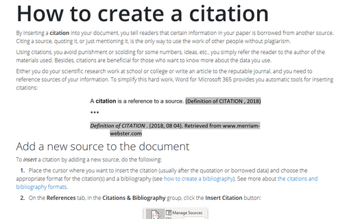 How to create a citation
