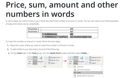 Price, sum, amount and other numbers in words