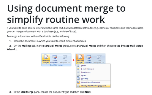 Using document merge to simplify routine work
