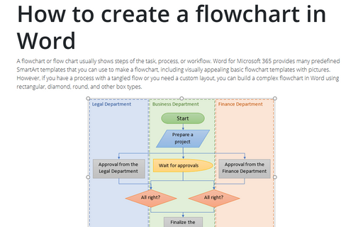 Draw flowcharts in Word