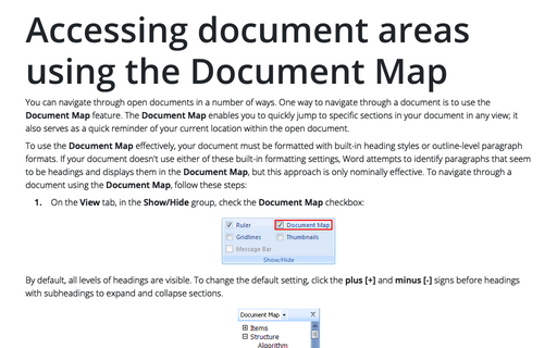 Accessing document areas using the Document Map