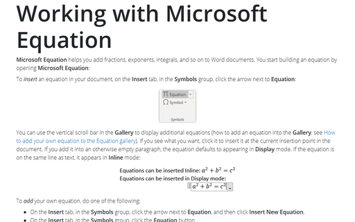Working with Microsoft Equation