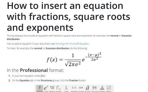 How to insert an equation with fractions, square roots and exponents