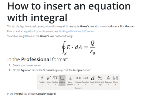 How to insert an equation with integral
