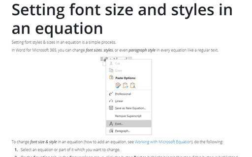 Setting font size and styles in an equation