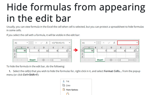 Hide formulas from appearing in the edit bar