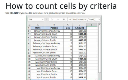 How to count cells by criteria
