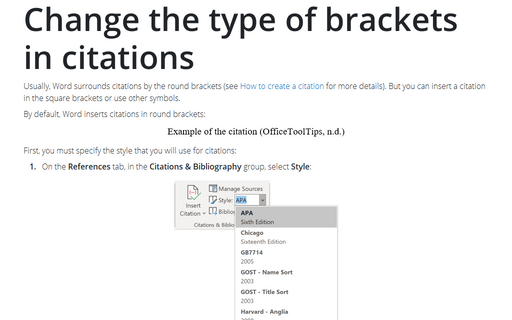 Change the type of brackets in citations