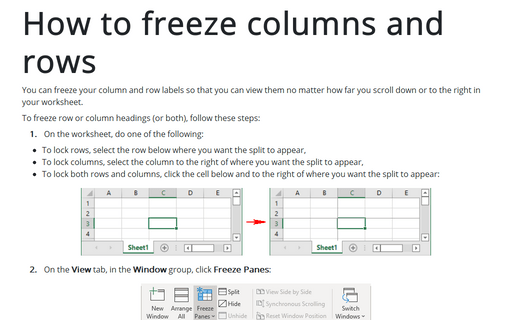 How to freeze columns and rows