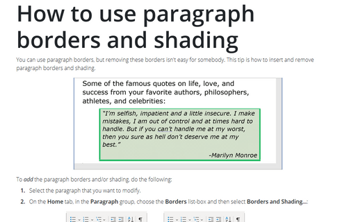 How to use paragraph borders and shading