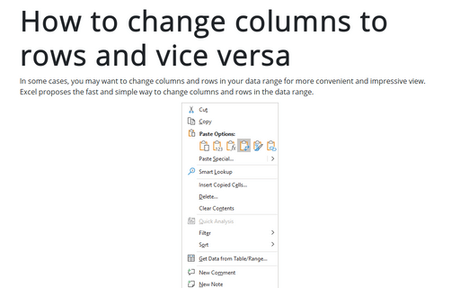 How to change columns to rows and vice versa