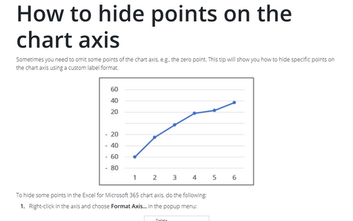 How to hide points on the chart axis