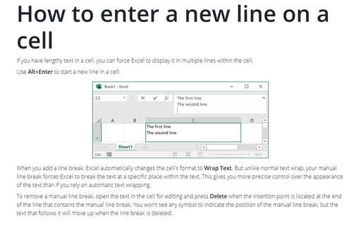 How to enter a new line on a cell