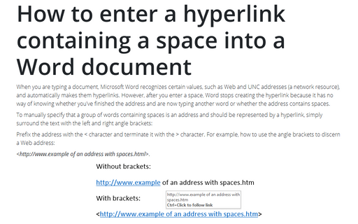How to enter a hyperlink containing a space into a Word document