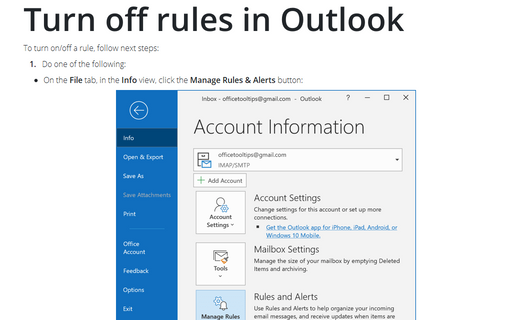 Turn off rules in Outlook