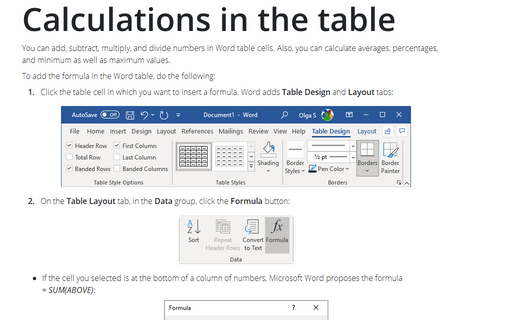 Calculations in the table