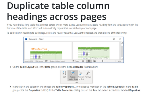 Duplicate table column headings across pages