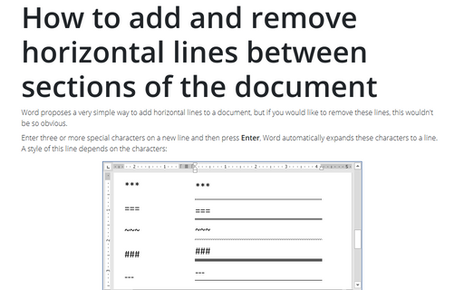 How to add and remove horizontal lines between sections of the document
