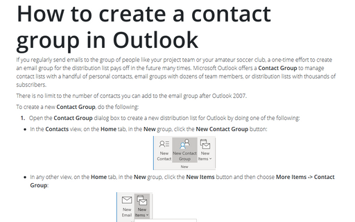 How to create a contact group in Outlook