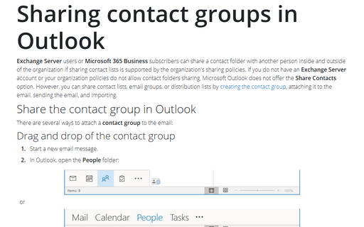 Sharing contact groups in Outlook