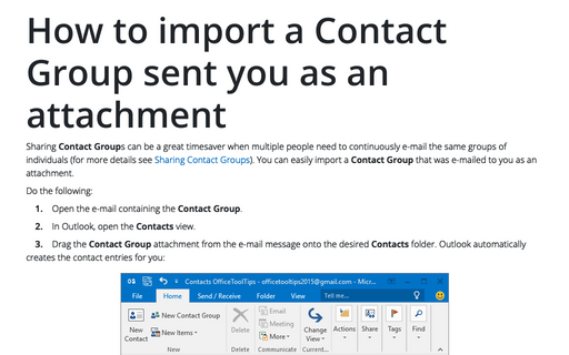 Sharing Contact Groups - Microsoft Outlook 2016