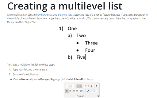 Creating a multilevel list