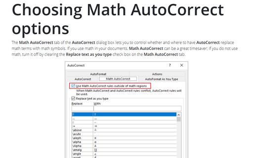 Choosing Math AutoCorrect Options