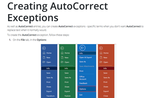 Creating AutoCorrect Exceptions