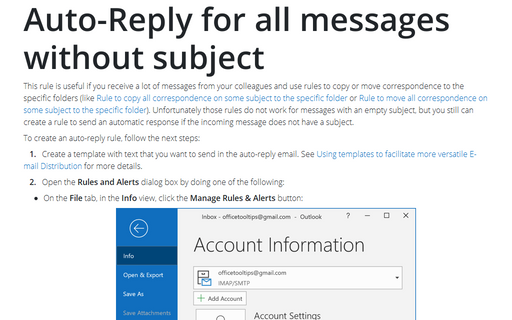 Rule to AutoReply all correspondence without subject