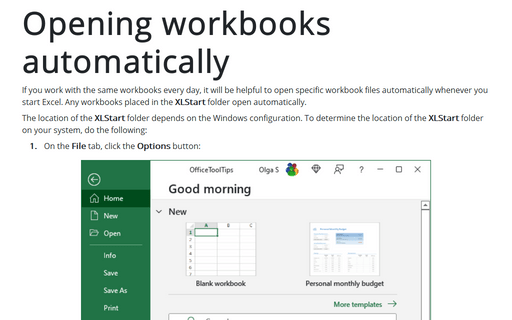 Opening Workbooks Automatically
