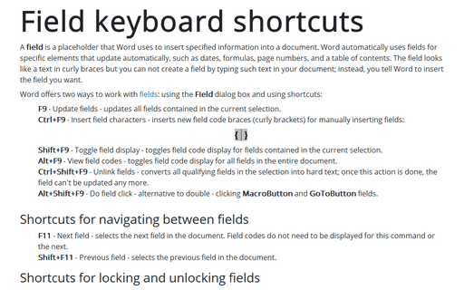Field Keyboard Shortcuts